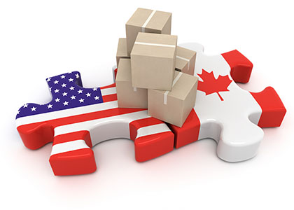 abstract idea of canada and us cross border shopping issue