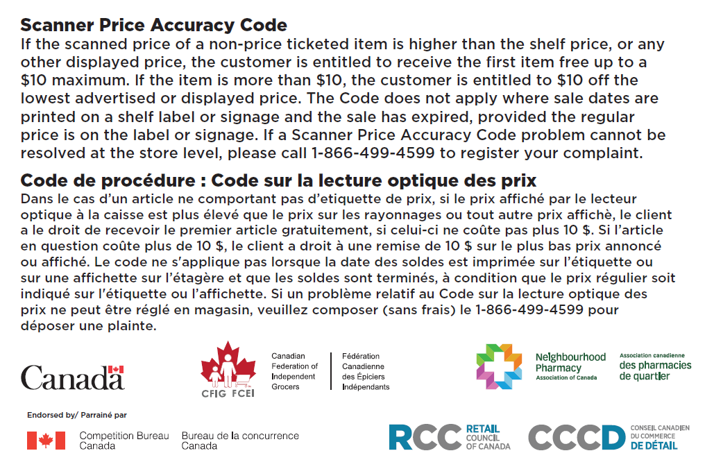 Scanner Price Accuracy Code - Retail Council of Canada