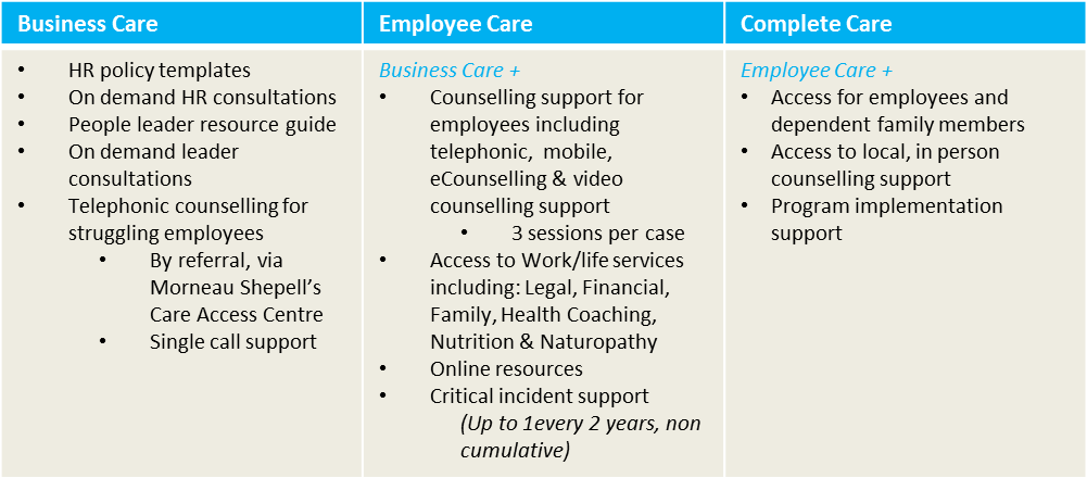 Table breakdown of business care, employee care and complete care