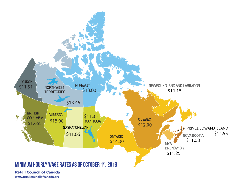 Map of Min wage in Canada