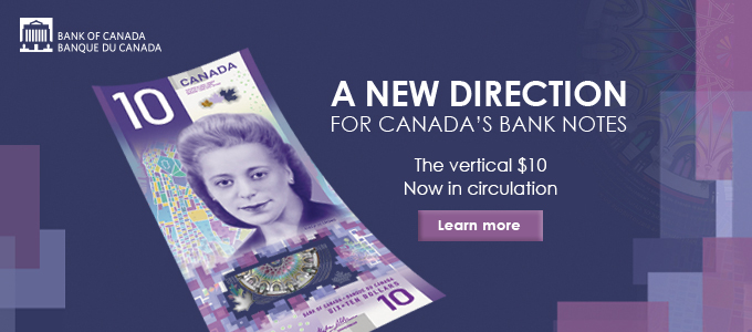 New 10 dollar vertical Bank Note