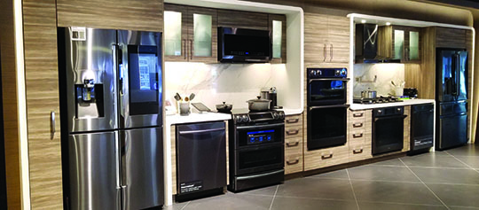 A fully functioning demo kitchen, equipped with a range of Samsung home appliances.