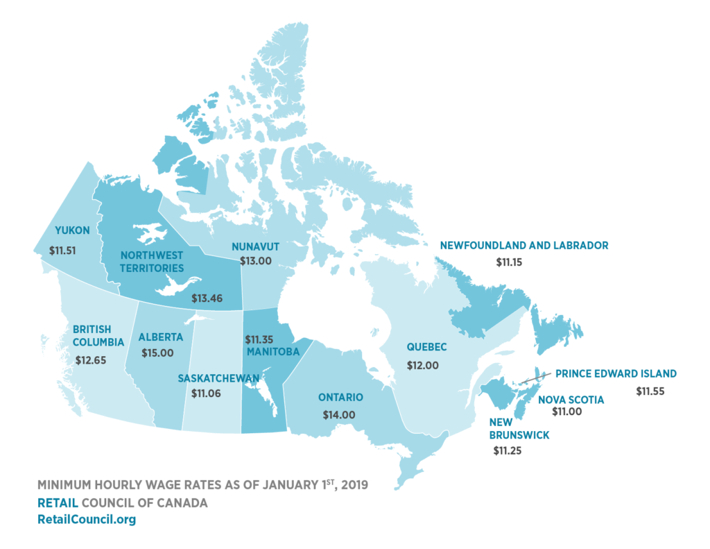 Columbia Canada Map.Minimum Wage By Province Retail Council Of Canada