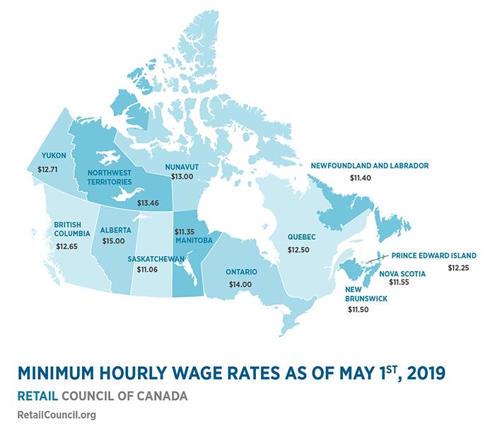 minimum wage by province map
