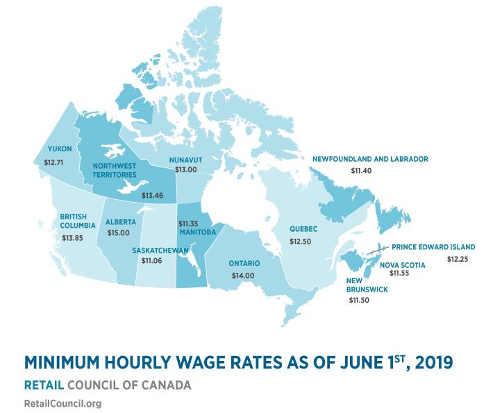Minimum Wage Map of Canada